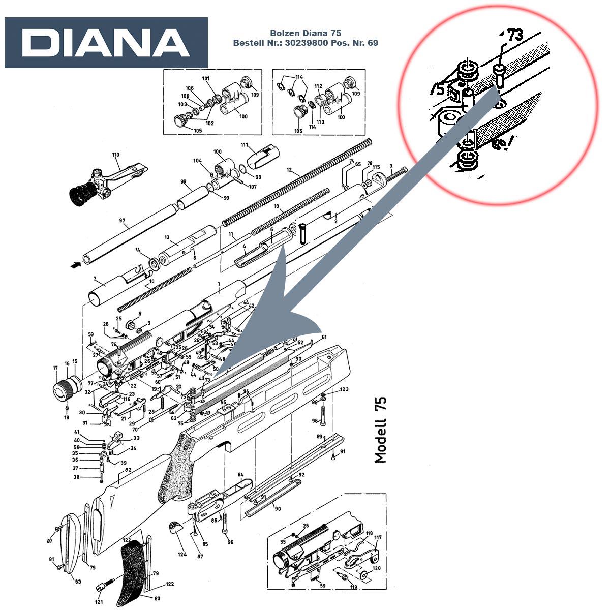 Gelenkbolzen Diana 75 & 56th Luftgewehr für den Spannhebel