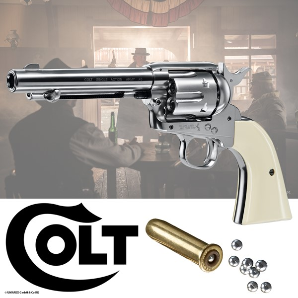 Colt Single Action Army 45 nickel SAA .CO2 Revolver SAA Peacemaker