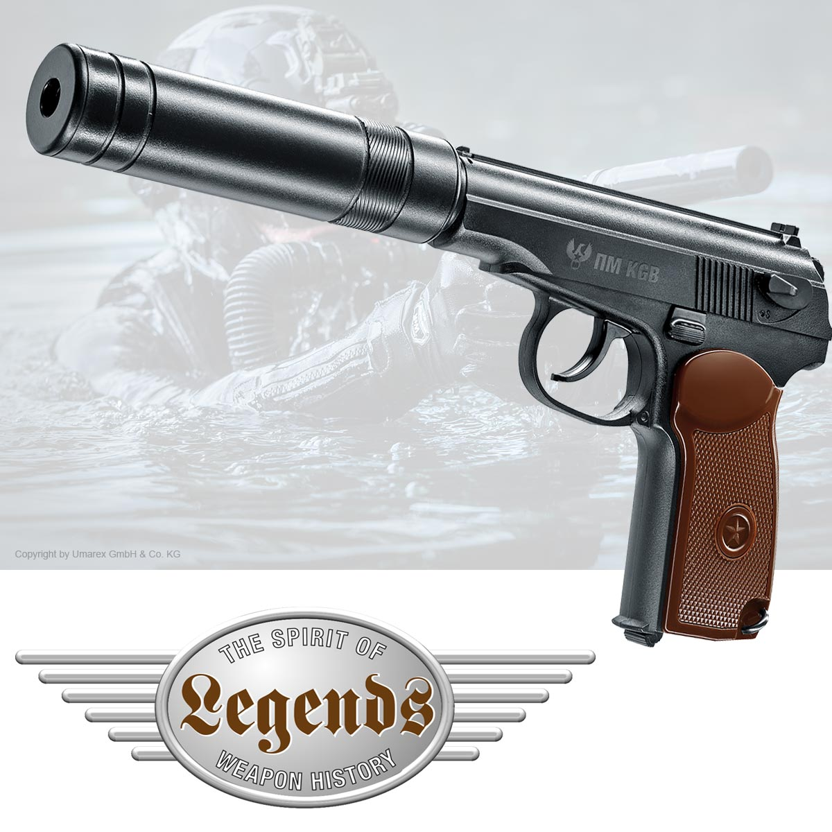 Legends PM KGB CO2 Pistole im Kaliber 4,5 mm mit braunen Griffschalen