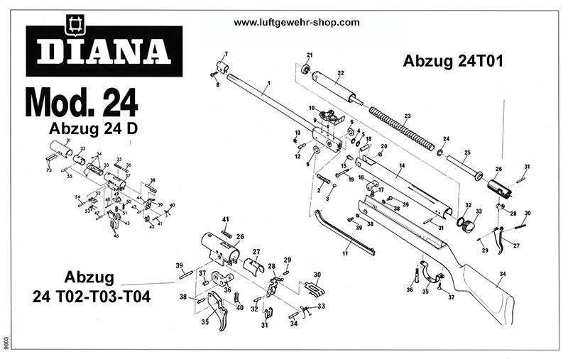 Explosionszeichnung luftgewehr diana 75 Explosionszeichnung Diana
