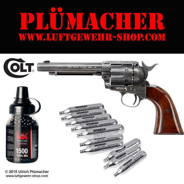 Colt Single Action Army 45 CO2 Revolver Set im Kaliber 4,5 mm BB.